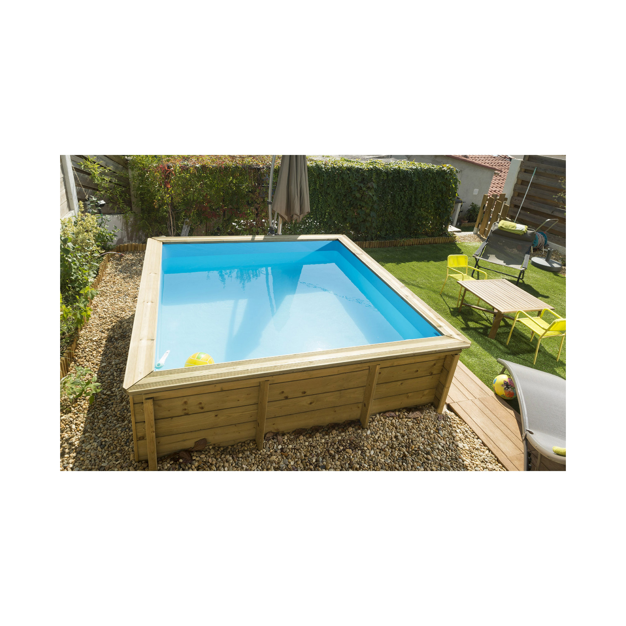 Piscine bois carr e hors sol la tropic junior piscines for Piscine hors sol bois carree