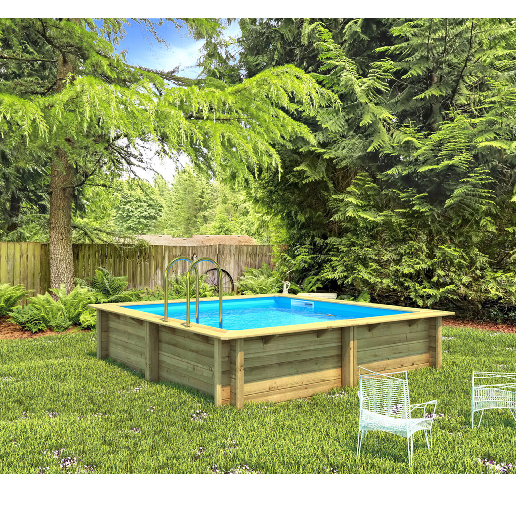 Piscine bois carr e hors sol semi enterr e enterr e for Piscine carree semi enterree