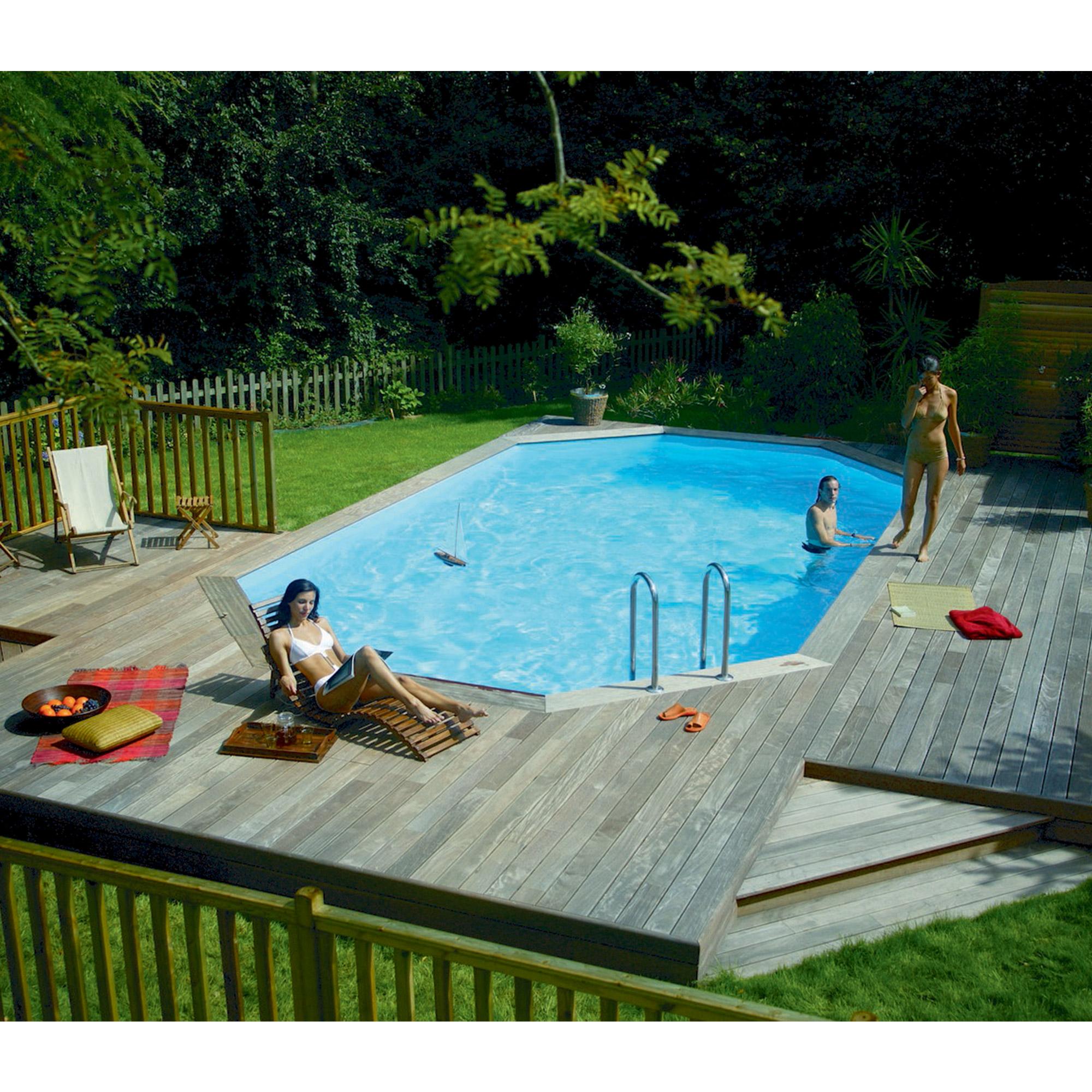 Piscine bois octogonale allong e hors sol semi enterr e - Hivernage piscine bois semi enterree ...