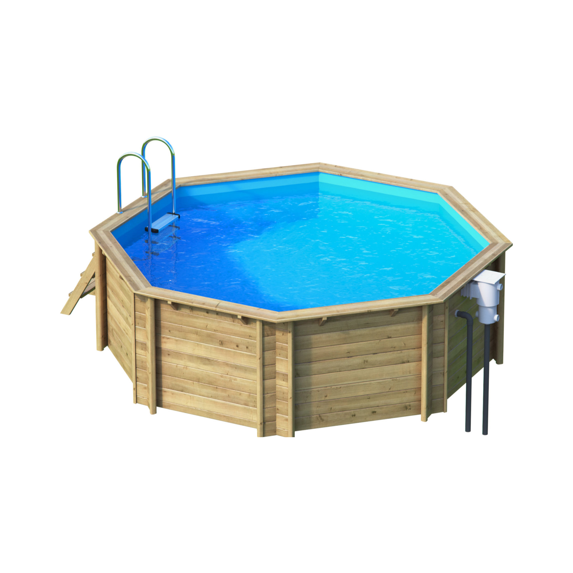 Piscine bois octogonale hors sol semi enterr e for Piscine bois octogonale semi enterree