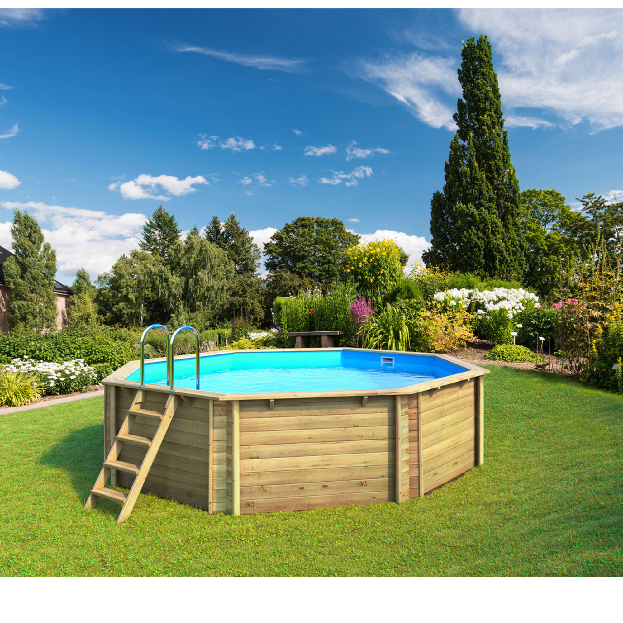Piscine bois octogonale exclusivement hors sol tropic for Piscine hors sol bois octogonale