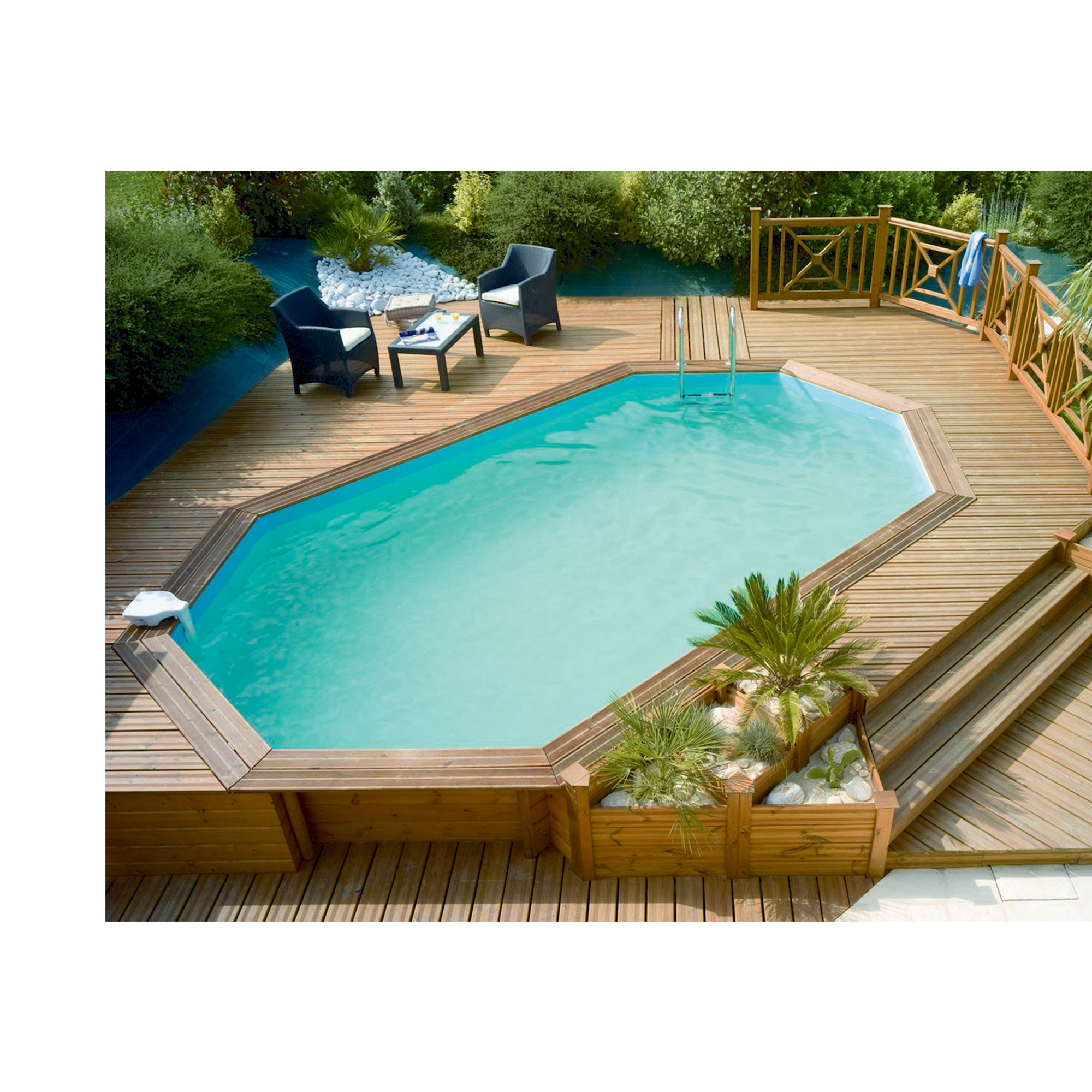 Piscine bois octogonale allong e hors sol semi enterr e for Piscine hors sol bois octogonale