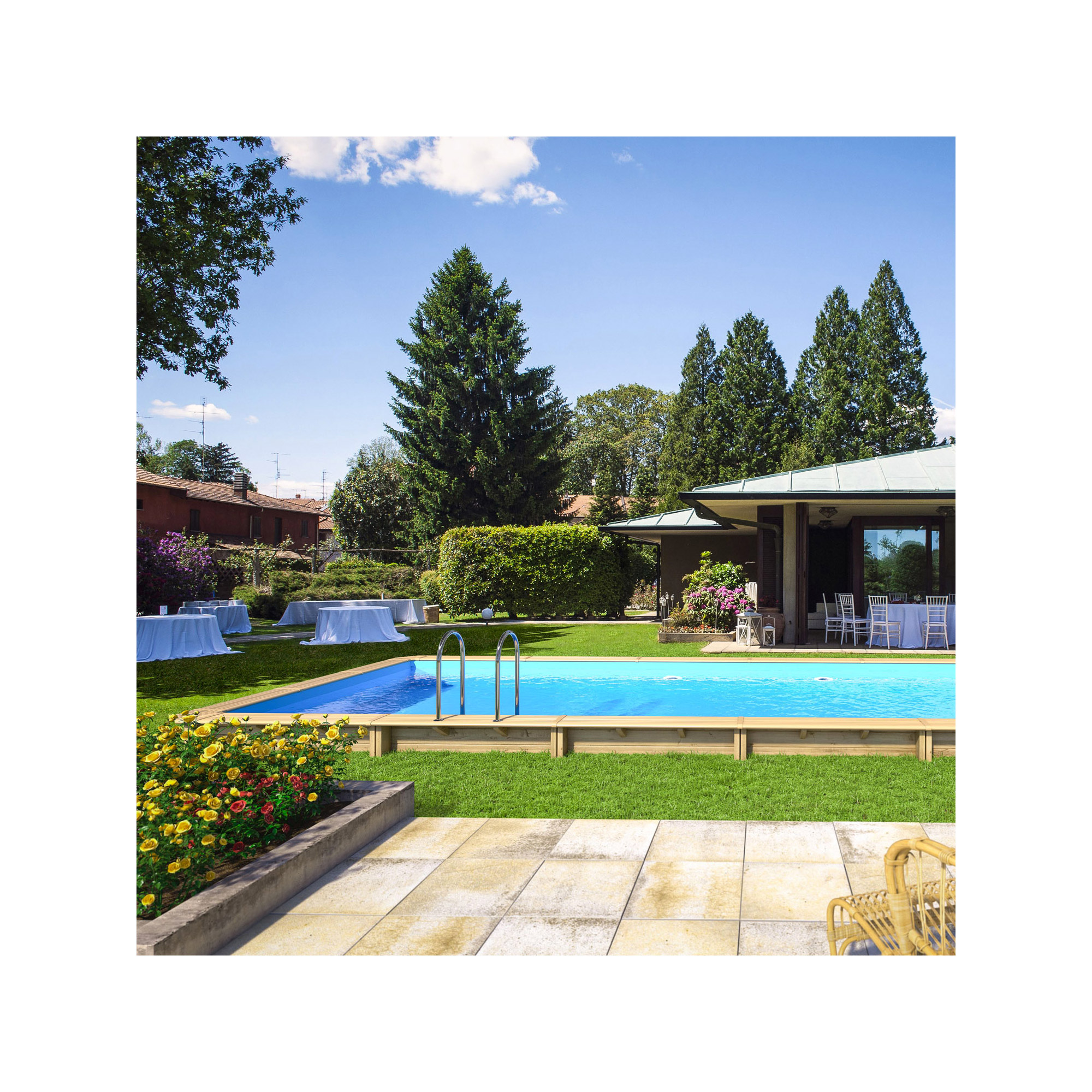 piscine bois rectangulaire hors sol semi enterr e. Black Bedroom Furniture Sets. Home Design Ideas