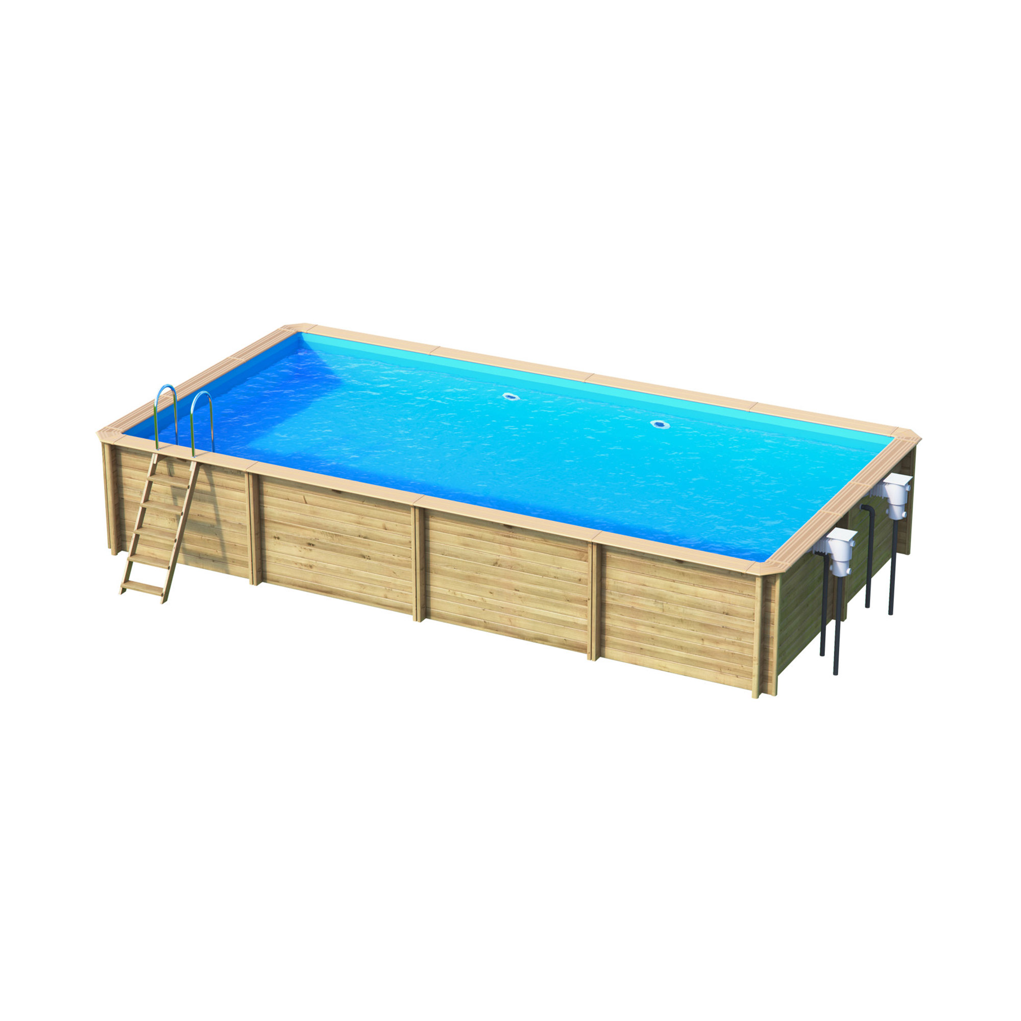 Piscine bois rectangulaire hors sol semi enterr e for Prix piscine 6 x 3