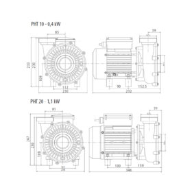 schéma des pompes de filtration compatible desjoyaux PHT 10 ET 20