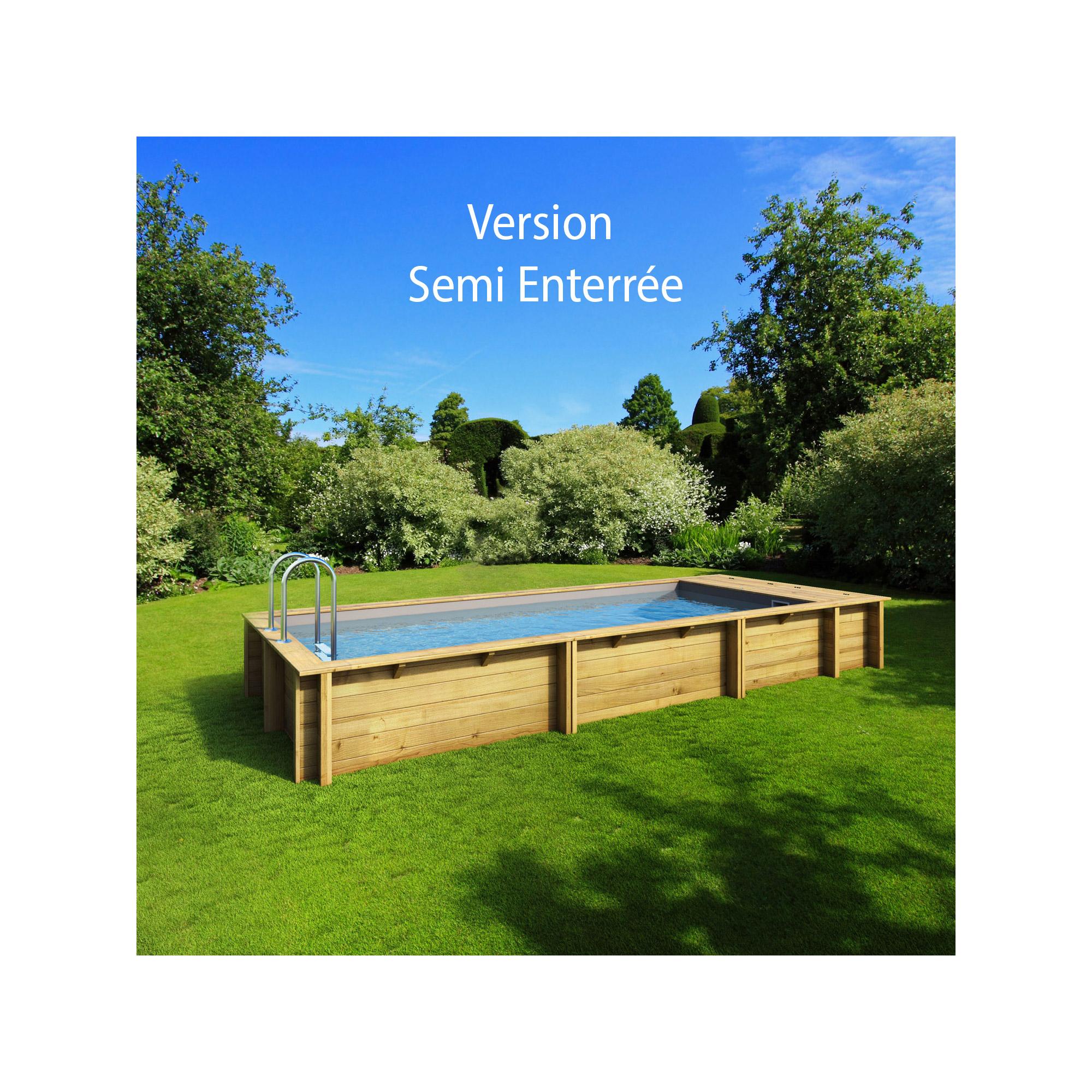 Piscine bois rectangulaire hors sol semi enterr e - Hivernage piscine bois semi enterree ...